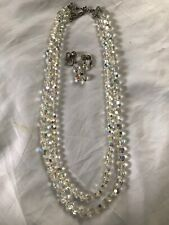 """Vintage Clear Crystal Aurora Borealis AB Double Strand 22"""" Necklace w/ Earrings"""