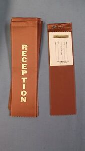 RECEPTION  tan ribbon with gold foil letters lot of 10 hemmed top and card