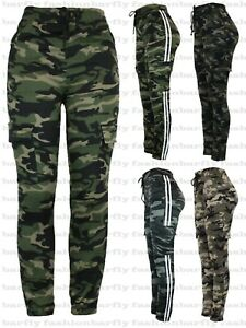 New Ladies Cargo Camouflage Army Stretch Casual Trousers Slim Fit Sport Jogger