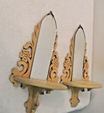 Vintage Wooden Shelf Sconce with Mirror Scroll Products Model 803