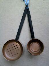 """Vtg Copper 16"""" Strainer & Cup long Black Iron Handles Kitchen Farmhouse Decor"""