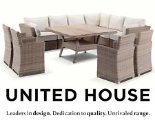 Large Wicker Outdoor Corner Modular Lounge and Dining Table Chairs Furniture Set