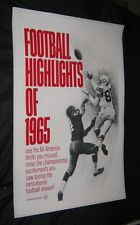 Original FOOTBALL HIGHLIGHTS OF 1965 Linen Backed 1 Sheet THEATRE NEWSREELS