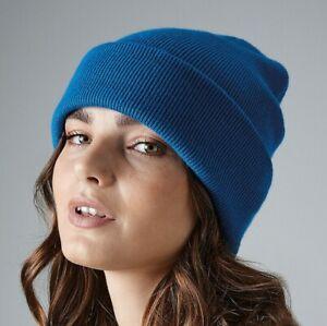 Beechfield Original Cuffed Beanie Hat Cap Turn Up Double Layer Knit Head (B45)