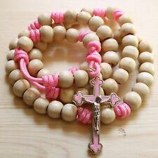 Rosary Pink Paracord Natural Wood Beads Wearable Crucifix Catholic Rosario