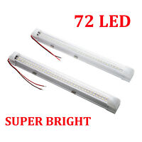 Pair 72 LED Car Interior White Strip Lights Bar Lamp Van Caravan ON OFF Switch