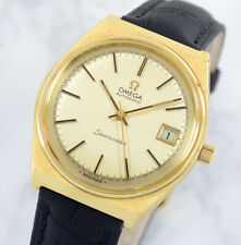 VINTAGE OMEGA SEAMASTER AUTO CAL1012 GOLD PLATED DATE GOLD DIAL MEN'S WATCH