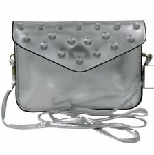 Ladies Decorative Leather Sling Bag (Silver)