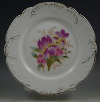 ANTIQUE PORCELAIN, EMBOSSED ORCHID SALAD PLATE, HAND PAINTED