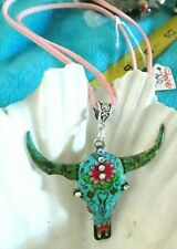 BEAUTIFUL COLORFUL  BOHEMIAN COW OR BULL HEAD PENDANT ON PINK SUEDE NECKLACE