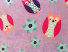 Rare Hd Designs Kids Purple Owl Blanket 50x62� Pink Green Fleece Stars