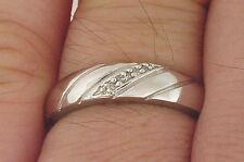 Men's Genuine Diamond .925 Silver + 10K White Gold Finish Wedding Band Ring