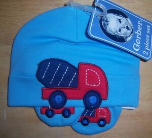 Clearance, New Blue Gerber Hat and Mitten Set, Truck, Baby Shower, Diaper Cake