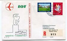 FFC 1970 LOT First Flight Geneve Varsovie REGISTERED Naciones Unidas Pologne