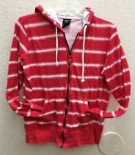 FADED GLORY Red & White Woman's Long Sleeve Full Zip Cotton Hoodie Jacket Sz Med