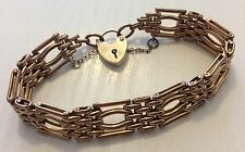 Beautiful Ladies Antique Victorian Pinchbeck Bracelet With 9ct Gold Padlock
