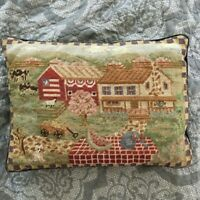 "Vintage Farm Scene Needlepoint Accent Pillow w Cows 15"" by 11"" Great Details!"