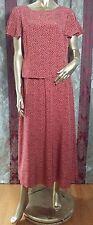 Coldwater Creek Sz M red silk dress light cream polka dot full skirt