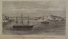 DISCO ISLAND COAST OF GREENLAND SHIPS POLARIS & CONGRESS HARPER'S WEEKLY 1871
