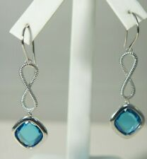 David Yurman 925 SilverBlue TOPAZ Continuance Infinity Drop Dangle Earrings