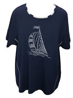 Alfred Dunner 2X Soft Navy Blue Sailboat Embellished Short Sleeve Top