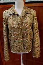 biya Johnny Was 3J Workshop JWLA Plaid Brown Embroidered Coat Jacket L Large