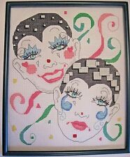 Finished, completed Cross stitch: Mimes and Ribbons (Frame is included)