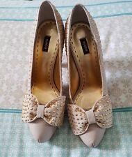 MIMCO Beige Pink Studded Suede Leather High Heels Stilletos Pumps Shoes 40 B53