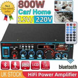 Bluetooth Stereo Audio Amplifier Car Home HiFi Music USB FM AMP 12V/220V 800W UK