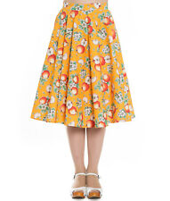 Hell Bunny Somerset 50s Rockabilly Apple Fruit Circular Skirt Blue Orange UK 12 (m) Orange