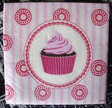 """Lot 3 serviettes en papier """"Mini cupcake rose"""" (Paper Napkins)"""