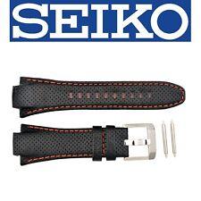 Original Seiko Leather Sportura Kinetic Orange Stitching 15mm Watch Band Strap