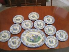 Thanksgiving Turkey Plates/Platter 12 pc. Rowland & Marsellus Staffordshire