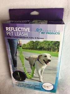 New Set Of 3: Dog Collar, Training Harness, Leash Reflects At Night, Adjustable