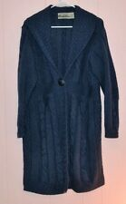 Aran Craft Irish Merino Wool Sweater Coat Blue Women's Large Blue