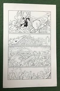 Looney Tunes Original Comic Book Art signed inker Porky Pig Daffy Duck CRUMBLE