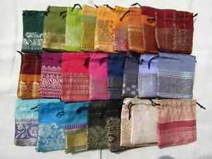 25 x Recycled Pouches Party, Favor, Wedding Bags Sari Fabric Pouches 3 Inches
