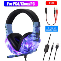 Gaming Headset MIC LED Headphones for PC Laptop PS4 Pro Xbox One S 3.5mm