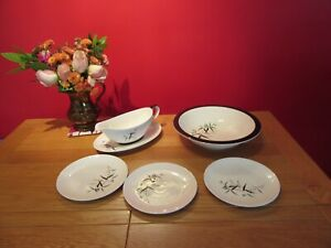 Lovely Vintage Job lot Royal Doulton Bamboo Gravy jug ,serving dish ,side plates