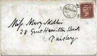 GB QV 1875 COVER PENNY RED PLATE 171 'OH' FROM GLASGOW TO PAISLEY PMK! 159