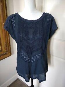 Lucky Brand Hippie BOHO Shirt Womens Navy Blue Embroidery  Short Sleeve Top SZ M