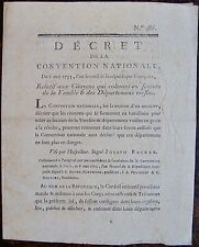 Decret de la convention Nationale du 6 Mai 1793,VENDEE, CHOUANS, REVOLUTION