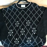 College Point Women's Sweater Vintage NEW Black White Metallic Silver Argyle L