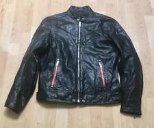 DIESEL Black Buffalo Leather REED Mens MOTO Cafe Racer Jacket sz Medium