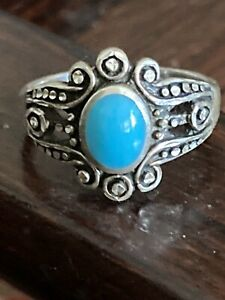 Vintage Navajo Sterling Silver Ornate Sleeping Beauty Turquoise Ring Size 6, 4g