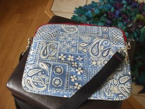 Lucky Brand blue white paisley floral school shoulder bag lap top travel #184
