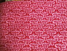 "Vintage KAFFE FASSETT ROWAN  Red/Pink CLOVER cotton fabric 1 YARD 42"" wide"