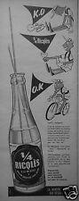 PUBLICITÉ 1958 1/4 RICQLÉS A LA MENTHE SANS ALCOOL - CYCLISTE VÉLO - ADVERTISING