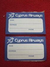 AIRLINE BAGGAGE STICKERS X 2 CYPRUS AIRWAYS 1980'S / 90'S VINTAGE