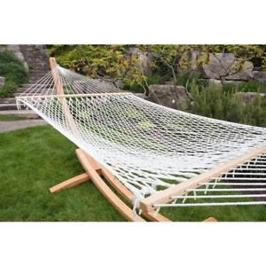 Hammock Bed 12.5 ft. Polyester Rope Weather Resistant in White with Spreader-Bar